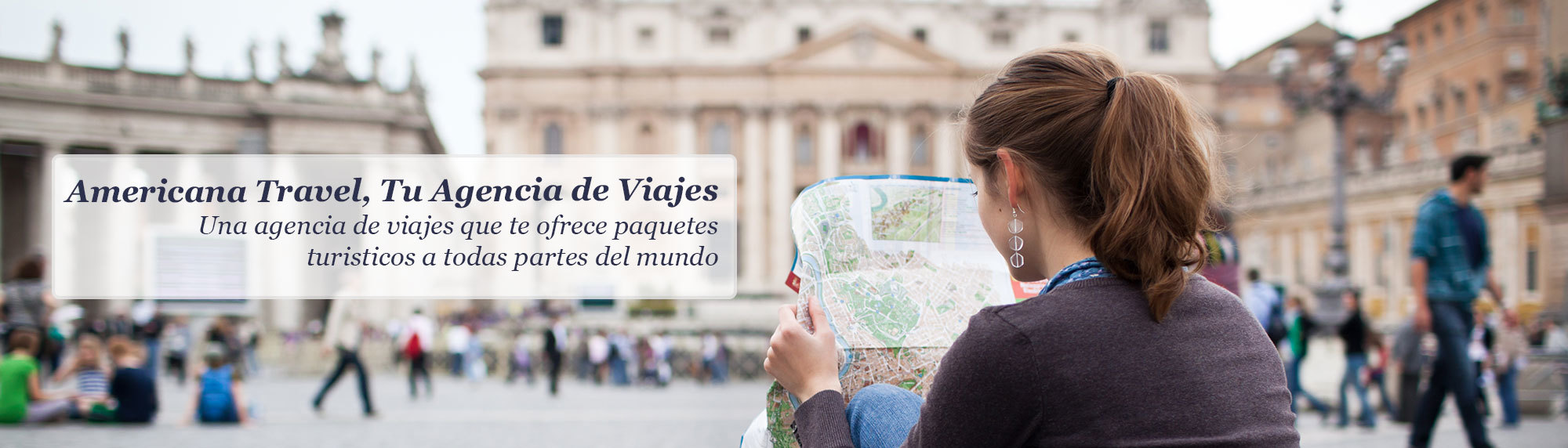 Woman looking at map on vacation